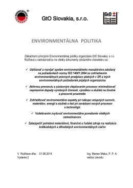 GtO Slovakia, s.r.o. ENVIRONMENTÁLNA POLITIKA