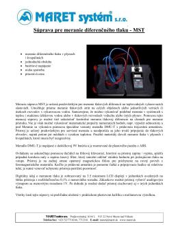 Súprava pre meranie diferenčného tlaku - MST