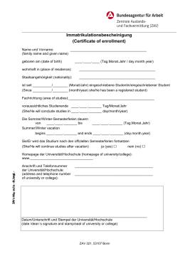 Immatrikulationsbescheinigung (Certificate of enrollment)