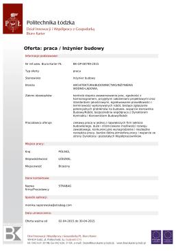 Oferta: praca / Inżynier budowy