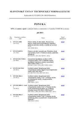 Ponuka noriem júl 2013 - Slovenský ústav technickej normalizácie