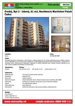 Predaj, Byt 2 - izbový, 61 m2, Rezidencia Martinkov