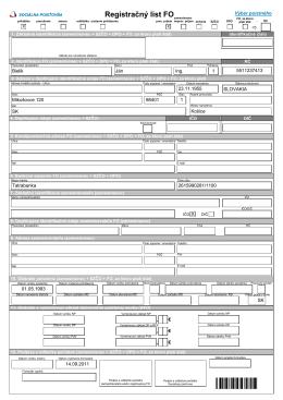 registračný list FO