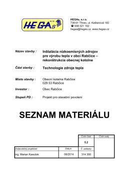 Kotelna Rabčice - seznam materiálu