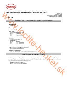 Karta bezpečnostných údajov podľa (ES) 1907 - Loctite