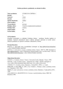 Učiteľstvo akademických predmetov, Chémia v kombinácii, Bc., 3