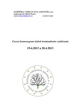 19.4.2013 a 20.4.2013 - Európska vzdelávacia agentúra, no