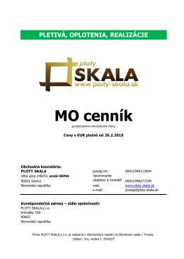 Cenník - PLOTY SKALA