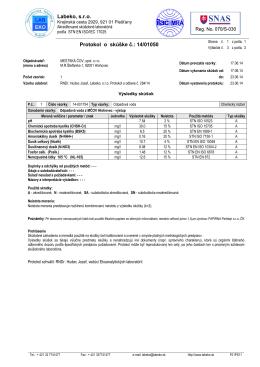 Labeko, s.r.o. Protokol o skúške č.: 14/01050