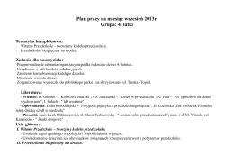 Plan pracy na miesiąc wrzesień 2013r. Grupa: 4