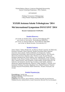 program konferencji - XXXIII Jesienną Szkołę Tribologiczną