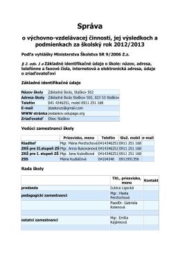 Správa - Základná škola, Staškov 502