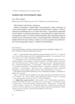 Zaujímavejšie fytocenologické zápisy