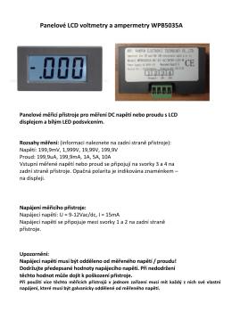 Panelové LCD voltmetry a ampermetry WPB5035A
