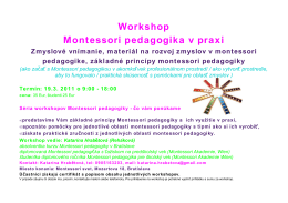 Workshop Montessori pedagogika v praxi