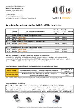Cenník načúvacích prístrojov WIDEX MENU (od 1.5 - widex