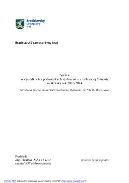 Školský rok 2013/14 - Stredná odborná škola elektrotechnická