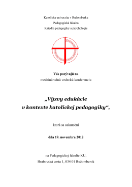 Základné informácie - Pedagogická fakulta KU