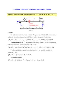 Určovanie väzbových reakcií na nosníkoch a rámoch