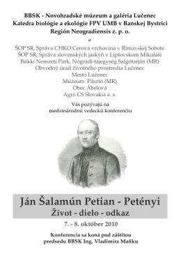 Ján Šalamún Petian - Petényi - Novohradské múzeum a galéria v