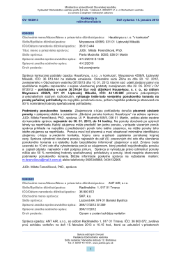 Deň vydania: 15. januára 2013 Konkurzy a reštrukturalizácie OV 10