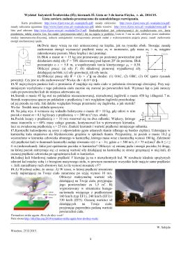 1 Wydział Inżynierii Środowiska (IŚ); kierunek IŚ. Lista nr 3 do kursu
