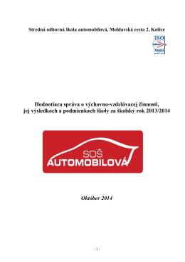 Správa o VVČ - STREDNÁ ODBORNÁ ŠKOLA AUTOMOBILOVÁ