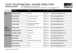 LISTA TELEFONICZNA / PHONE DIRECTORY