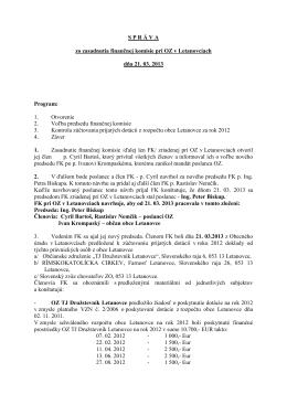Zápisnica finančnej komisie (Marec 2013)
