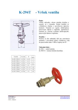 K-294T - Vršok ventilu