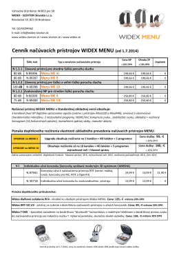 Cenník načúvacích prístrojov WIDEX MENU (od 1.7 - widex