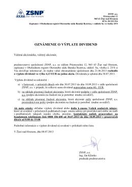 Oznamenie o vyplate dividend jul2013