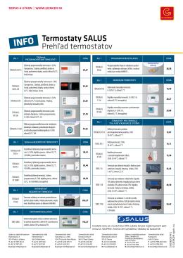 Termostaty SALUS Prehľad termostatov