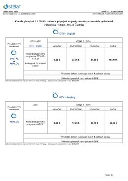 Cenník platný od 1.1.2014 k zmluve o pripojení na