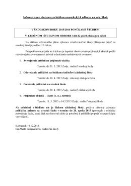 Informácie pre záujemcov o štúdium neumeleckých odborov na