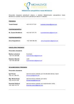 Personálne obsadenie jednotlivých odborov a referátov