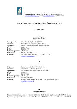 ZMLUVA O PRENÁJME NEBYTOVÉHO PRIESTORU Č. 003/2014 I