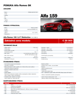 PONUKA Alfa Romeo SK Základná cena modelu € 29 900