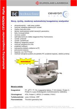 automatický koagulometer CEVERON Alpha