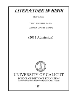LITERATURE IN HINDI - University of Calicut