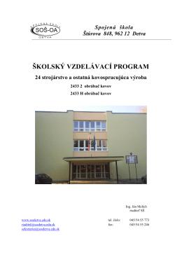 ŠkVP - obrábač kovov - Spojená škola v Detve