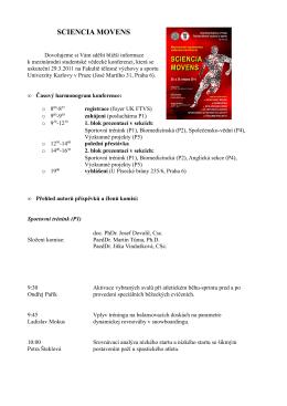 SCIENCIA MOVENS - Fakulta tělesné výchovy a sportu