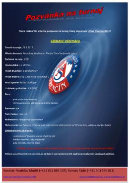 Základné informácie Kontakt: Vratislav Mojžiš (+421 911