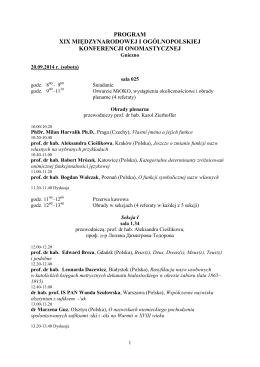 PROGRAM XIX MIĘDZYNARODOWEJ I