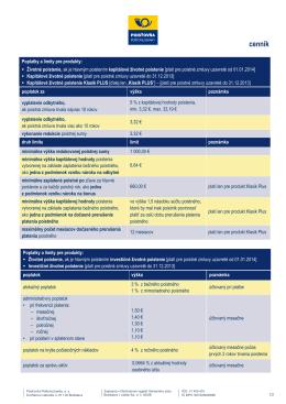 cennik 092014 - Poisťovňa Poštovej banky, as