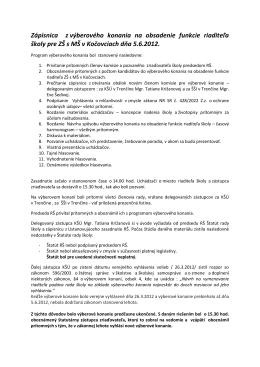 Zápisnica z výberového konania na obsadenie funkcie riaditeľa