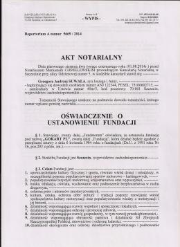 akt notarialny oświadczenie o ustanowieniu fundacji
