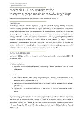 Znaczenie HLA-B27 w diagnostyce zesztywniającego zapalenia
