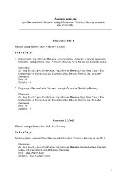 Zoznam uznesení - Obec Nedožery
