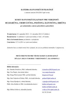 Kurzy bulharského jazyka na Filozofickej fakulte UK